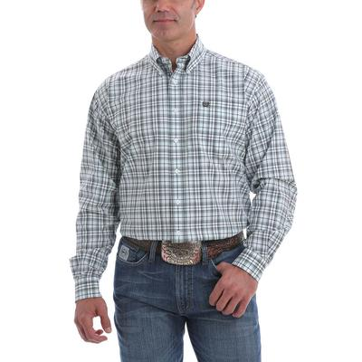 Cinch Men's White Light Blue and Navy Plaid Western Shirt