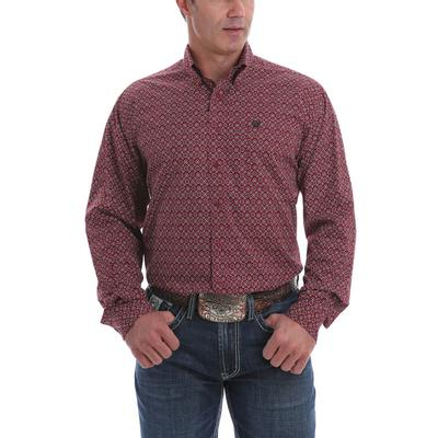 Cinch Men's Burgundy Black and White Floral Print Western Shirt