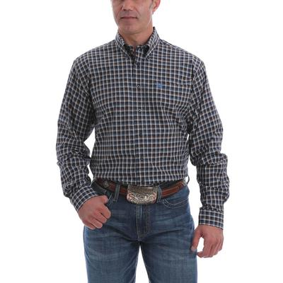 Cinch Men's White and Brown Plaid Western Shirt