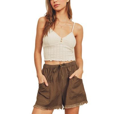 Women's Fringe Hem Linen Shorts
