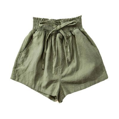 Women's Draw String Smocked Linen Shorts