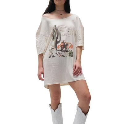 Gina Tees Women's Cactus Cowboy T-Shirt Dress