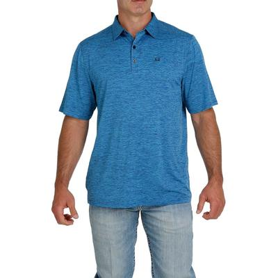 Cinch Men's Blue and Turquoise ArenaFlex Polo Shirt