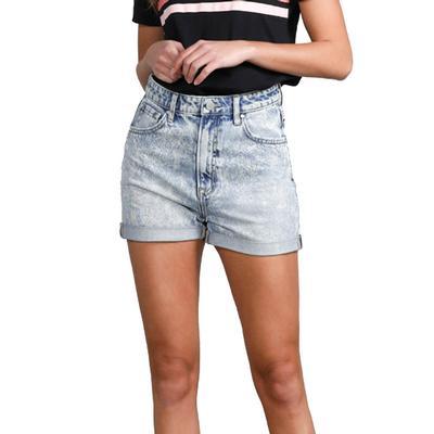 Women's High Rise Paper Bag Mom Shorts