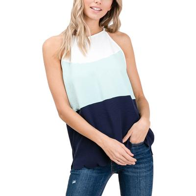Women's Mint Color Blocked Sleeveless Top