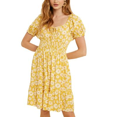 Women's Smocked Floral Sweetheart Mini Dress