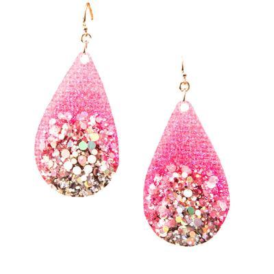 Two Tone Glitter Teardrop Earrings