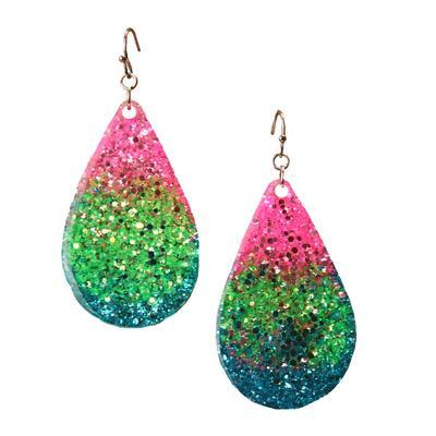 Color Pop Glitter Teardrop Earrings PK/GR/BL