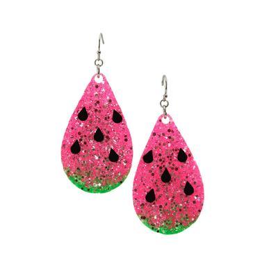 Watermelon Glitter Teardrop Earrings