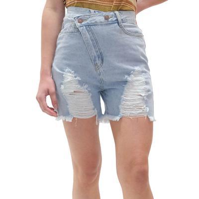 Women's Distressed Denim Wrap Waist Shorts