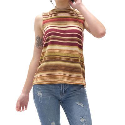 Women's Multi Striped Rust Tank Top