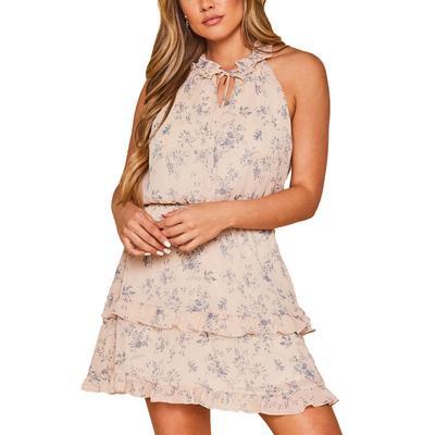 Peach Love Women's Sleeveless Floral Mini Dress