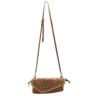 American Darling Tooled Leather And Hide Crossbody