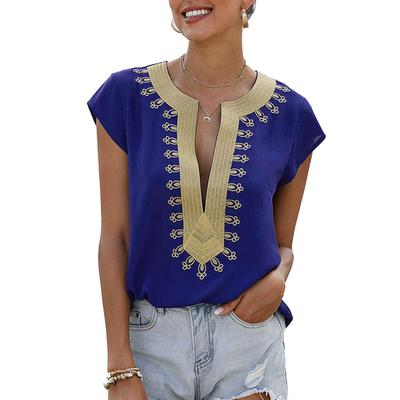 Women's Deep V-Neck Embroidered Top