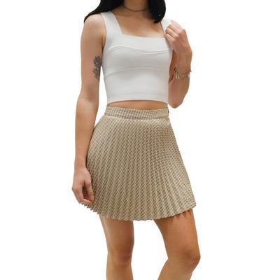 Women's Tan Plaid Skirt