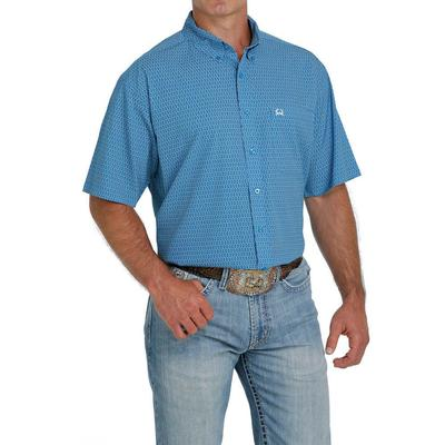 Cinch Men's Turquoise And Blue Arenaflex Short Sleeve Button Down