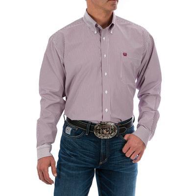 Cinch Men's Tencel Burgundy Button Down Western Shirt