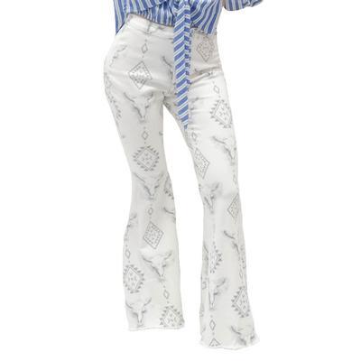 Peach Love Women's Aztec Bell Bottom Flare Jeans