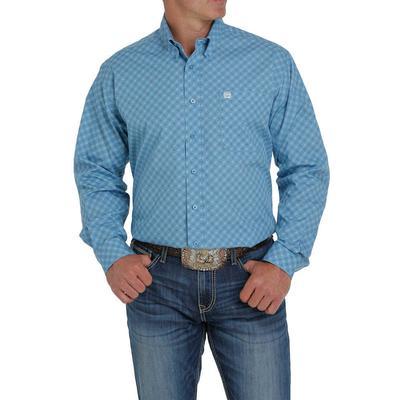 Cinch Men's Teal Printed Button Down Shirt