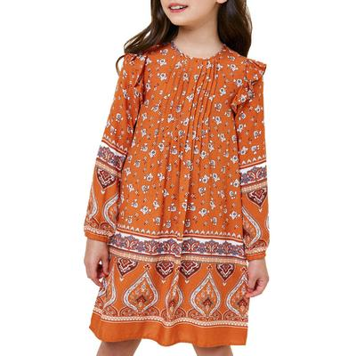 Hayden Girl's Printed Ruffle Sleeve Dress