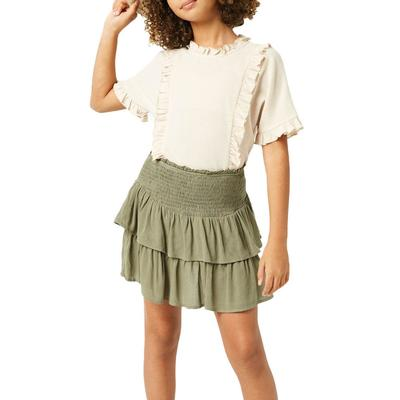 Hayden Girl's Smocked Ruffle Tiered Mini Skirt