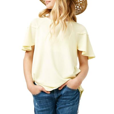 Hayden Girl's Flutter Sleeve Ribbed Knit Top