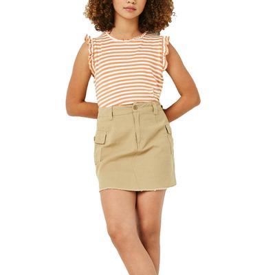 Hayden Girl's Ruffle Neck Striped Tank Top