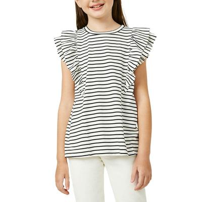 Hayden Girl's Layered Ruffle Knit Stripe Top