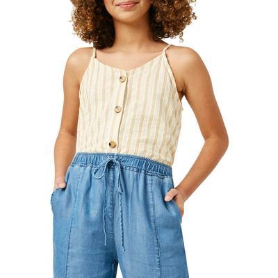Hayden Girl's Striped V-Neck Buttoned Cami Top