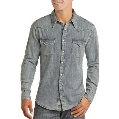 Panhandle Men's Modern Fit Denim Snap Shirt