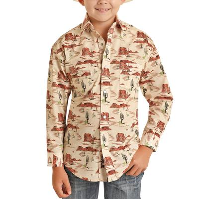 Panhandle Boy's Dale Brisby Novelty Print Snap Shirt