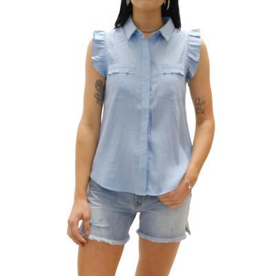 Joy Joy Women's Blue Ruffle Sleeve Top