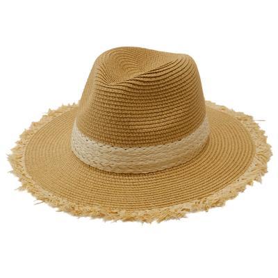 Women's Raw Edge Woven Boho Straw Hat