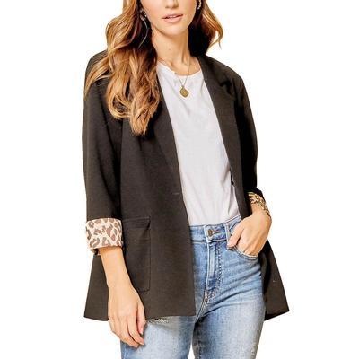Women's Leopard Contrast Woven Blazer