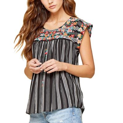 Women's Floral Embroidered Front Top