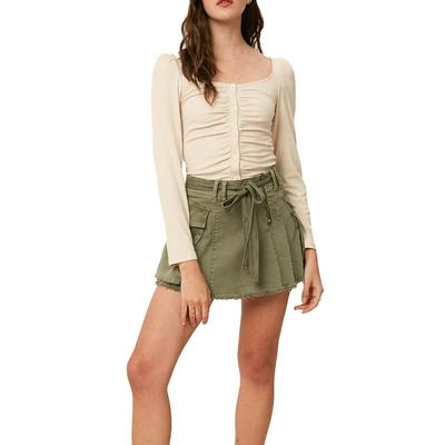 Listicle Women's Olive Washed Wrap Skirt