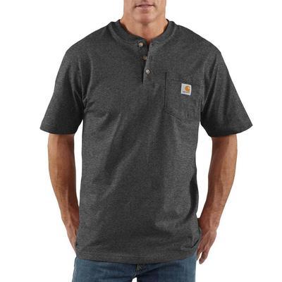 Carhartt Men's Short Sleeve Henley T-Shirt CARBONHEATHER