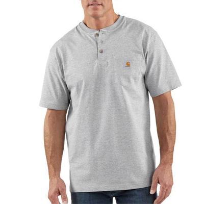 Carhartt Men's Short Sleeve Henley T-Shirt HEATHERGREY