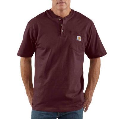 Carhartt Men's Short Sleeve Henley T-Shirt PORT