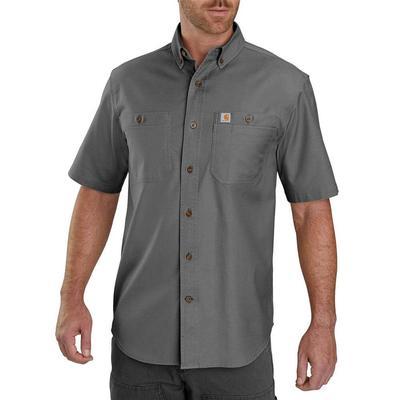 Carhartt Men's Rugged Flex Rigby Short Sleeve Button Down GRAV