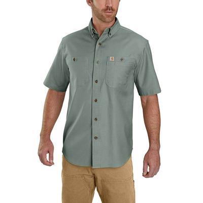 Carhartt Men's Rugged Flex Rigby Short Sleeve Button Down LGRN