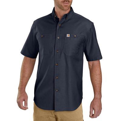 Carhartt Men's Rugged Flex Rigby Short Sleeve Button Down NAVY