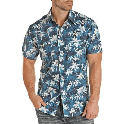 Panhandle Men's Slim Fit Palm Tree Short Sleeve Snap Shirt