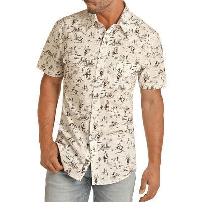 Panhandle Men's Slim Fit Western Scene Short Sleeve Snap Shirt