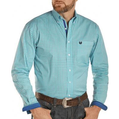 Panhandle Men's Stretch Diamond Print Long Sleeve Button Down