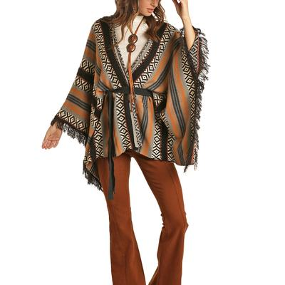Rock&Roll Women's Frayed Knitted Poncho