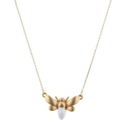 Jane Marie Women's Gold and White Bee Necklace