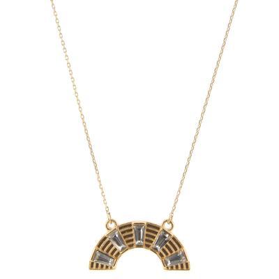 Jane Marie Women's Gold Arch Rhinestone Necklace