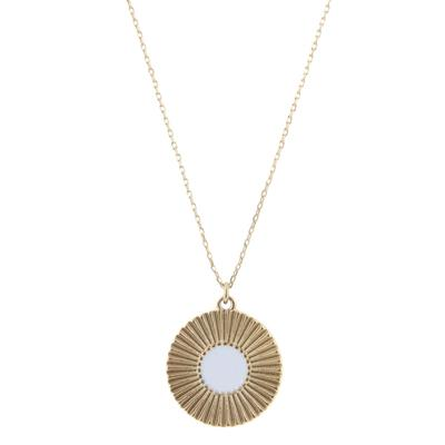 Jane Marie Women's Gold and White Circle Pendant Necklace