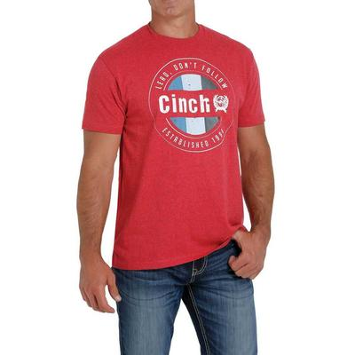 Cinch Men's Heather Red Logo Crew Neck